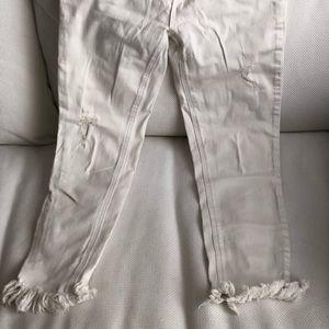 White fringe jeans